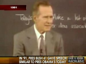 President George H.W. Bush spoke to school children in 1991