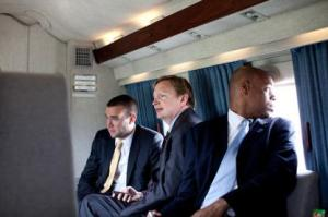 Jon Favreau, Jim Messina and Patrick Gaspard on Marine One