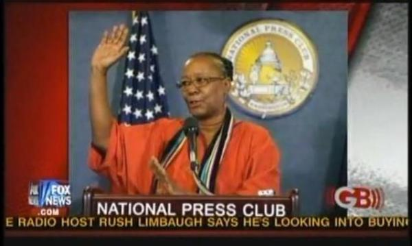 ACORN boss and embezzlement coverup co-conspirator Bertha Lewis spins a yarn about ACORN at Washington, D.C.'s National Press Club yesterday.